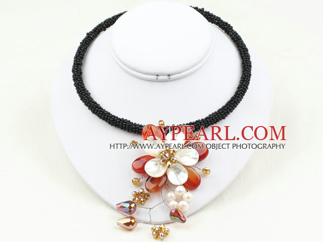 White Pearl and Agate Shell Flower Choker Necklace