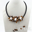 Wholesale White Freshwater Pearl and Tiger Eye Flower Necklace with Black Cord