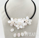 Wholesale White Freshwater Pearl and White Shell Flower Necklace with Black Cord