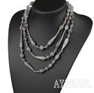 Lang stil Assortert Gray Drop Shape Agate halskjede