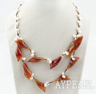 Wholesale White Freshwater Pearl and Natural Color Agate Flower Necklace