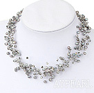 Wholesale Multi Strands Gray Freshwater Pearl Crystal Necklace