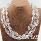 Three Strands Assorted Clear Crystal Necklace with Heart Shape Clasp