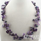 Wholesale Multi Strands Black Freshwater Pearl and Amethyst Necklace