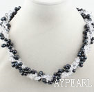 Wholesale Multi Strands Black Freshwater Pearl and Clear Crystal Necklace