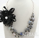 Wholesale Faceted Flash Stone Necklace with Metal Chain and Black Silk Flower