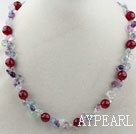 Assortiment arc-en-fluorite et cornaline Collier