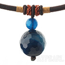 Simple Design Faceted Blue Agate Pendant Necklace with Dark Red Thread