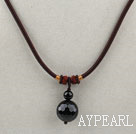 Simple Design Faceted Black Agate Pendant Necklace with Dark Red Thread