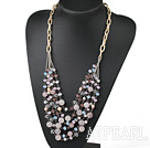 Wholesale Pink Series Multi Layer Freshwater Pearl and Rose Quartz and Pink Crystal Necklace with Metal Chain