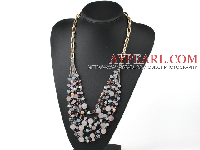 Pink Series Multi Layer Freshwater Pearl and Rose Quartz and Pink Crystal Necklace with Metal Chain