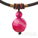 Simple Design Faceted Rose Red Agate Pendant Necklace with Dark Red Thread