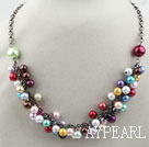 Wholesale Assorted Multi Color Shell Beads Necklace with Metal Chain