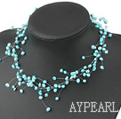 Wholesale Fancy Style Sky Blue Color Freshwater Pearl Bridal Necklace