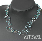 Wholesale Multi Strands Green Freshwater Pearl and Green Crystal Necklace