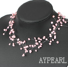 Wholesale Fancy Style Pink Freshwater Pearl Bridal Necklace