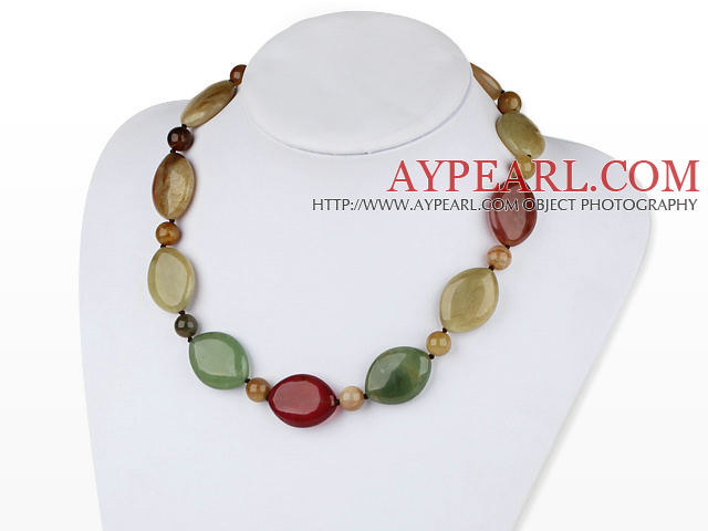 18 inches three colored jade necklace with moonlight clasp