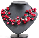 Trendy Style Multi Strand Bright Red Seashell Beads Twisted Necklace With Bending Alloyed Tube