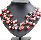 Trendy Style Multi Strand Orangepink Seashell Beads Twisted Necklace With Bending Alloyed Tube