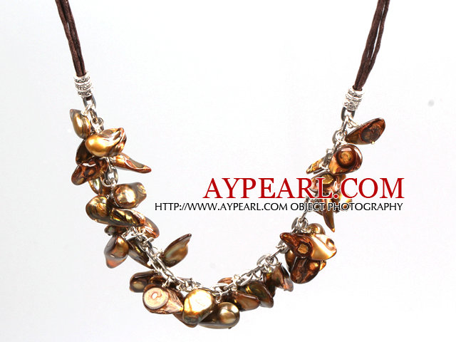 New Arrival Golden Brown Color Teeth Shape Pearl Necklace with Lobster Clasp