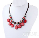 Assorted Red Coral and Black Agate Necklace with Black Thread