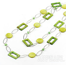 fashion long style party jewelry green shell necklace with big metal loops
