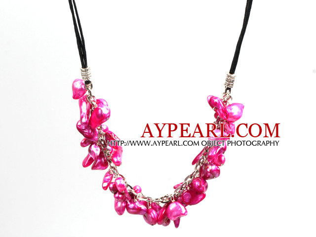 New Arrival Purple Red Color Teeth Shape Pearl Necklace with Lobster Clasp