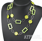 fashion long style party jewelry grenn shell necklace with big matel loops