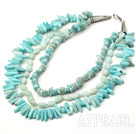Wholesale three strand amazon stone necklace with lobster clasp