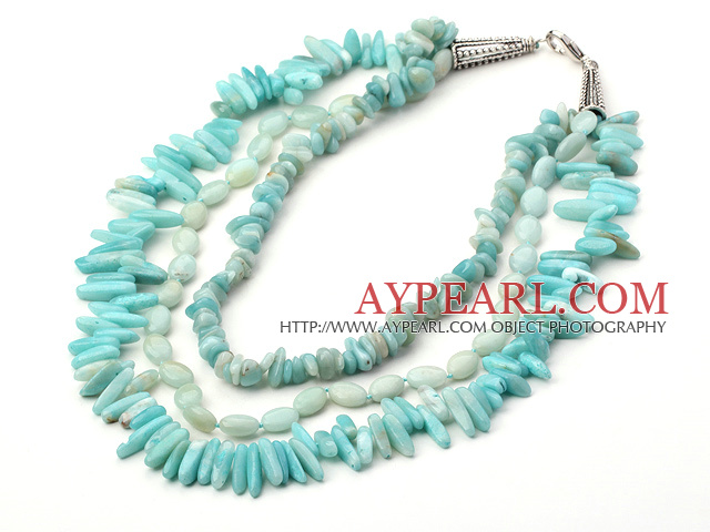 three strand amazon stone necklace with lobster clasp