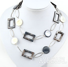 Wholesale fashion long style party jewelry shell necklace with big metal loops