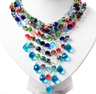 Amazing Multi Color Teardrop Crystal Tassel Party Necklace