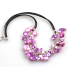 New Arrival Purple Color Teeth Shape Pearl Necklace with Lobster Clasp