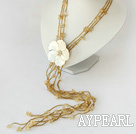 Wholesale fashion citrine and shell flower long necklace