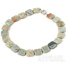 Wholesale 4*18mm Africa stone necklace with spring ring clasp