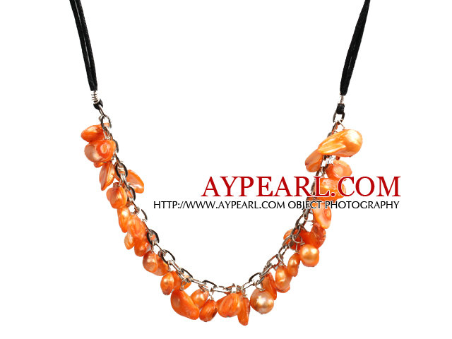New Arrival Orange Color Teeth Shape Pearl Necklace with Lobster Clasp