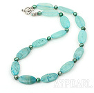 17.5 inches fashion pearl and blue jade necklace