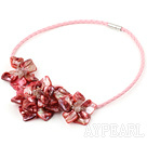 Elegant style smaller watermelon red pearl shell flower necklace