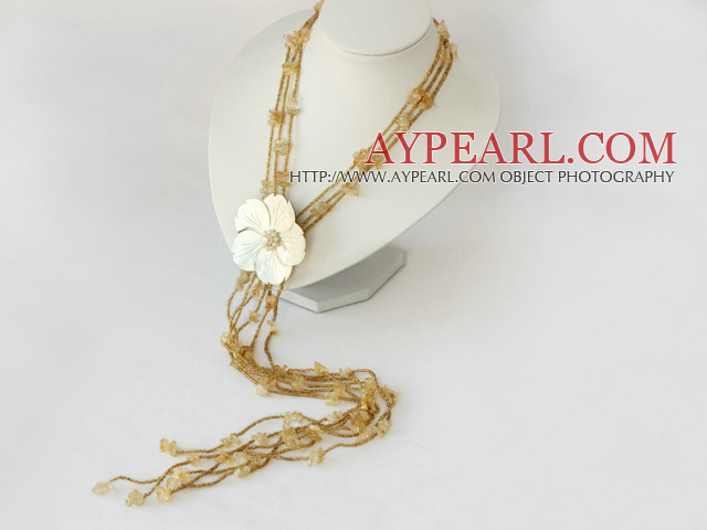 fashion citrine and shell flower long necklace
