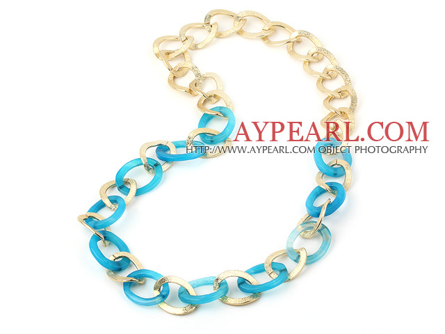 metal jewelry fahsion long style blue agate necklace