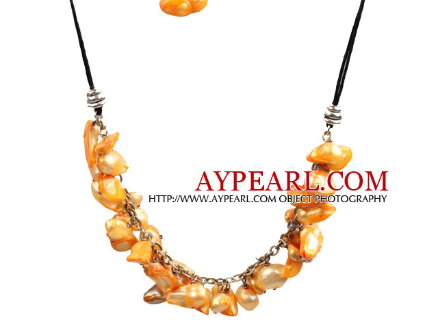 New Arrival Yellow Color Teeth Shape Pearl Necklace with Lobster Clasp