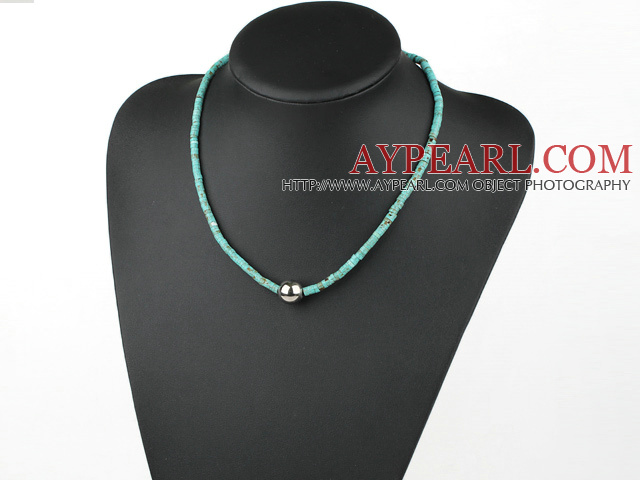 Fashion Flat Round Blue Turquoise And Metal Bead Strand Necklace