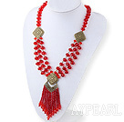 Fashion Style Red Crystal Tassel Necklace with Bronze Accessories