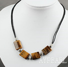 Wonderful Simple Style Square TigerS Eye Black Threaded Necklace