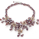2013 Summer New Design Assorted Medium Purple and Champagne Color Crystal Flower Party Necklace