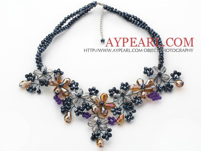 Black Series Black Crystal and Gray and Yellow Color Crystal Flower Necklace