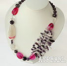 Wholesale amethyst and pink agate necklace with lobster clasp