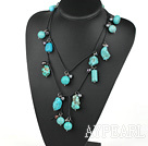 Wholesale 47 inches black pearl and turquoise long style necklace