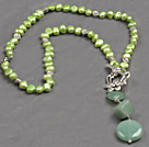 Wholesale green pearl and aventurine Y shaped necklace