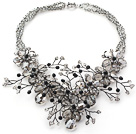 2013 Summer New Design Gray Crystal Flower Party Necklace